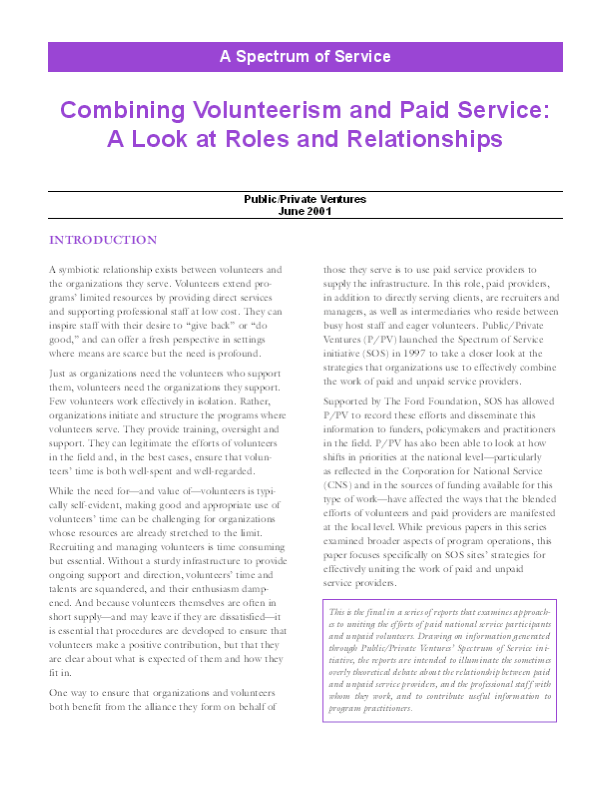 A Spectrum of Service: Combining Volunteerism and Paid Service: A Look at Roles and Relationships