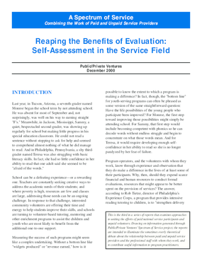 A Spectrum of Service: Reaping the Benefits of Evaluation: Self Assessment in the Service Field