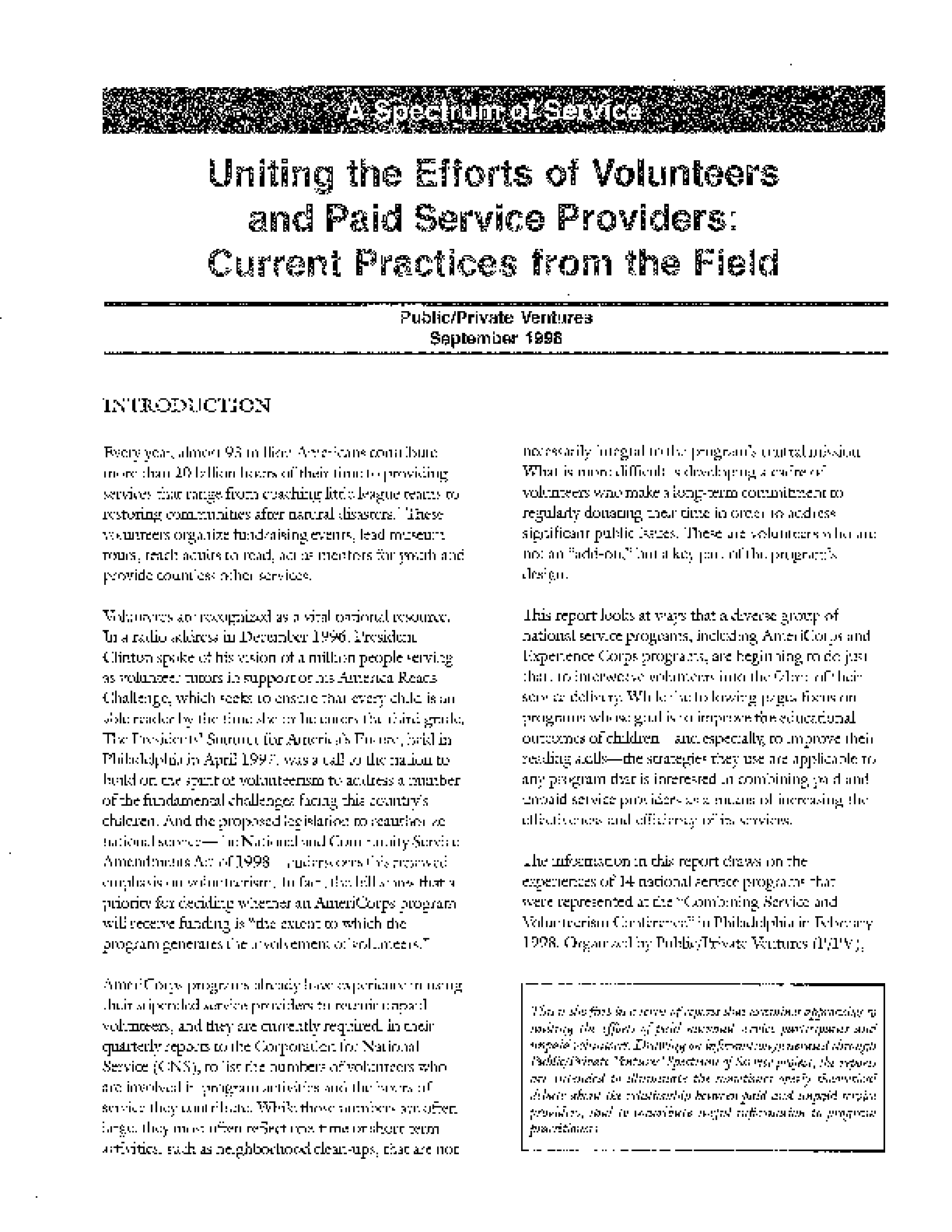 A Spectrum of Service: Uniting the Efforts of Volunteers and Paid Service Providers: Current Practices from the Field