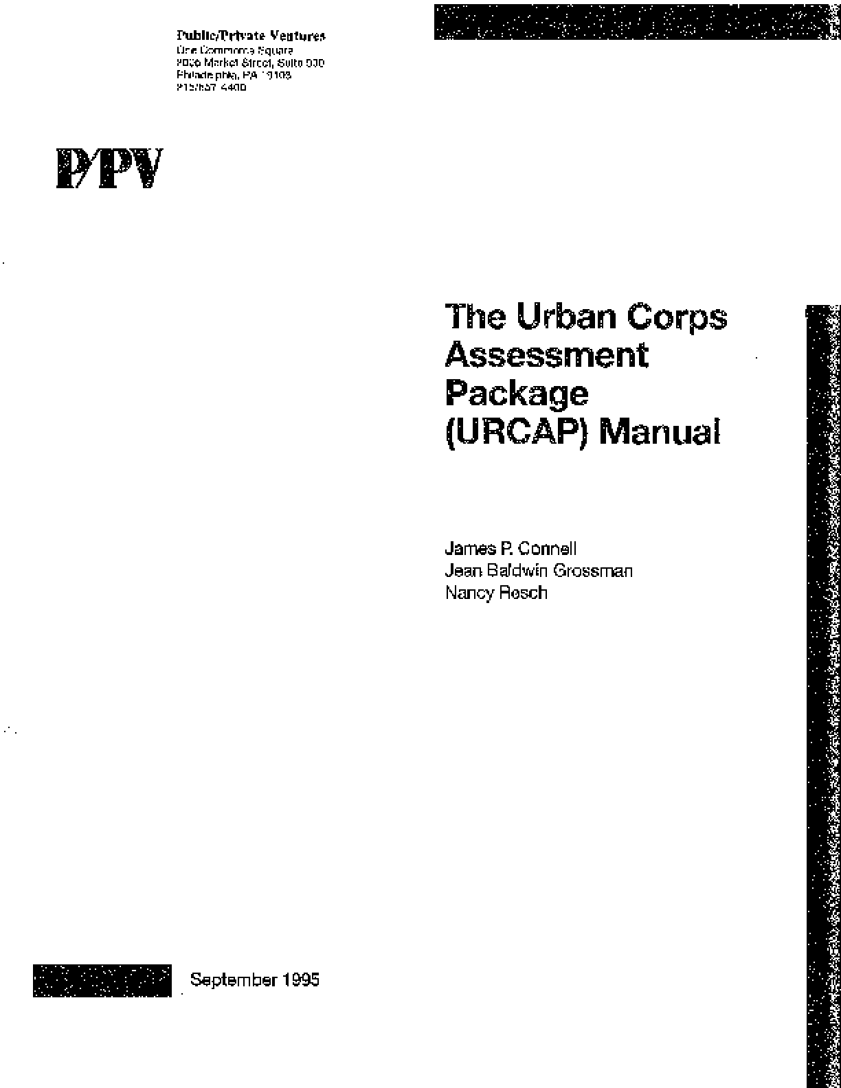 Urban Corps Assessment Package (URCAP) Manual