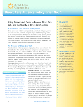 Using Recovery Act Funds to Improve Direct Care Jobs and the Quality of Direct Care Services