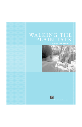 Walking the Plain Talk: A Guide for Trainers