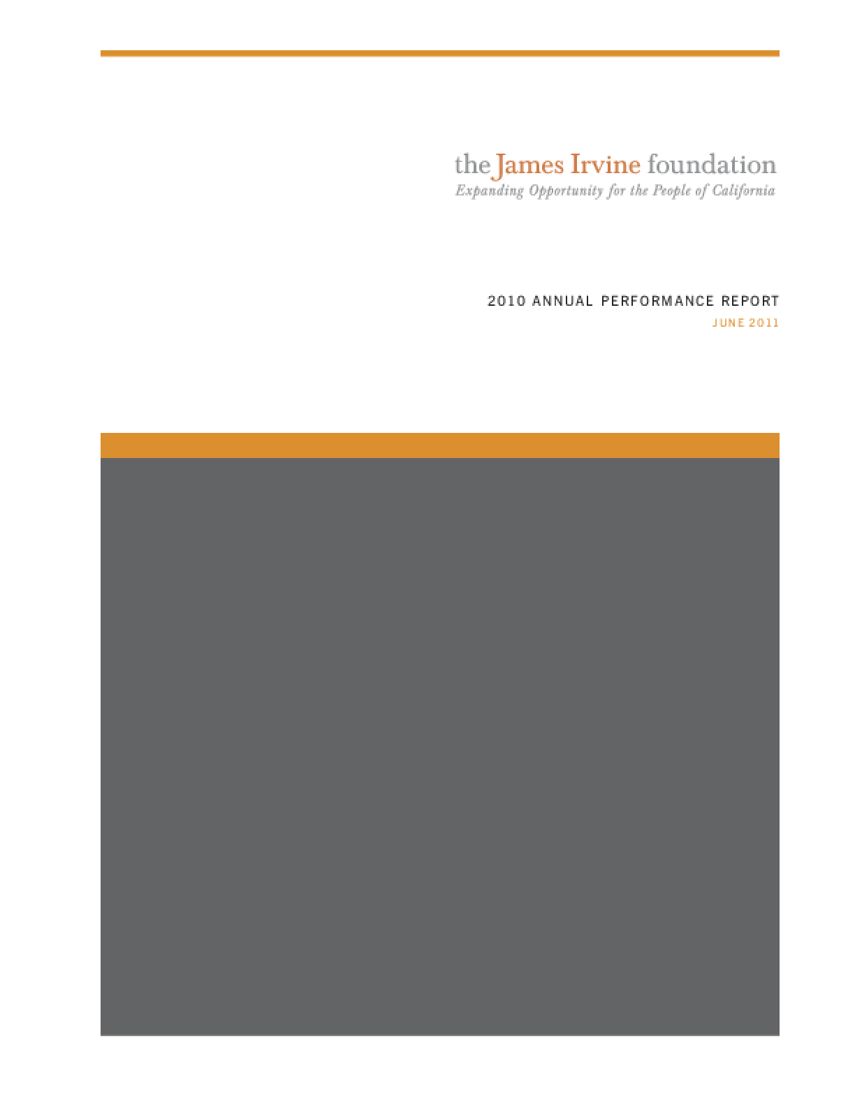 James Irvine Foundation 2010 Annual Performance Report
