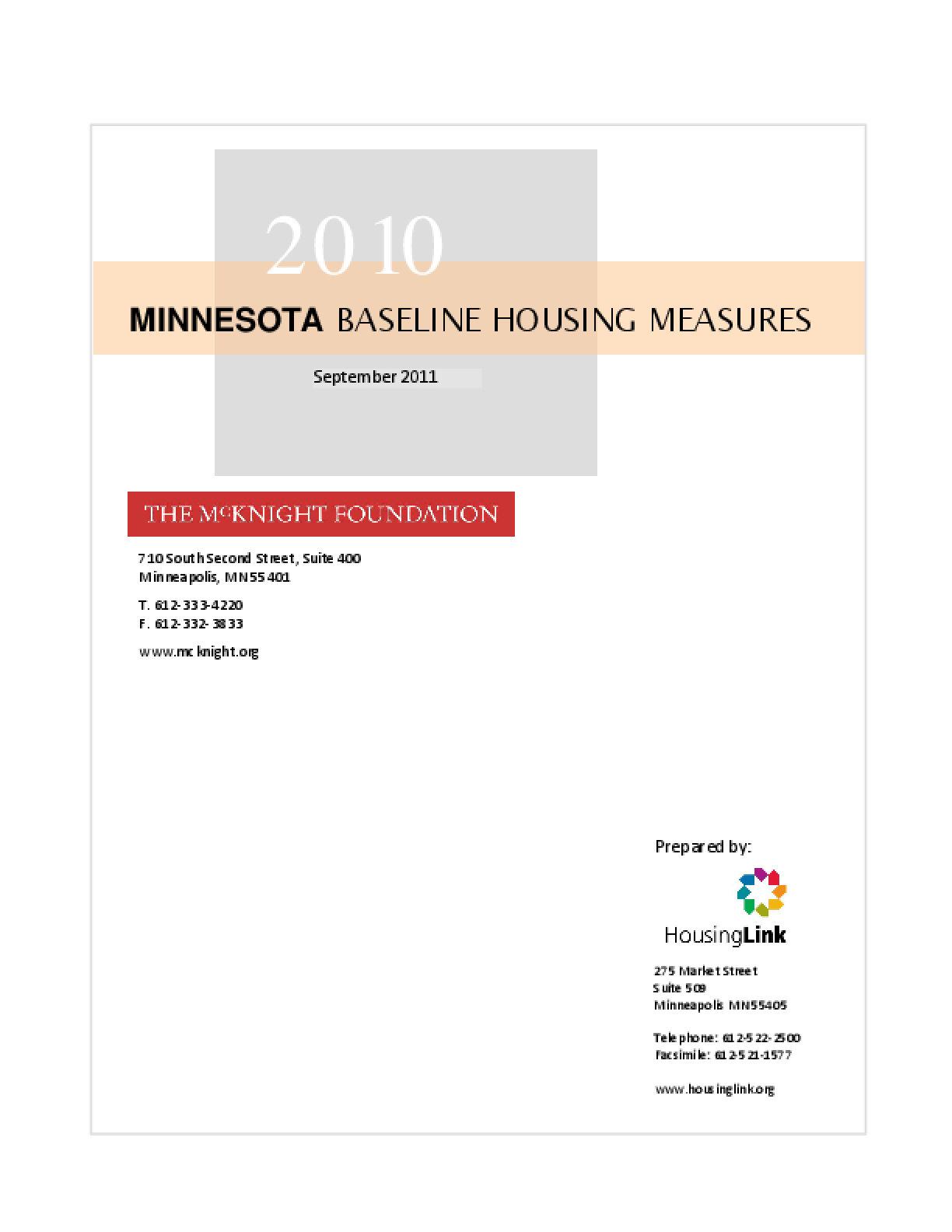 2010 Minnesota Baseline Housing Measures