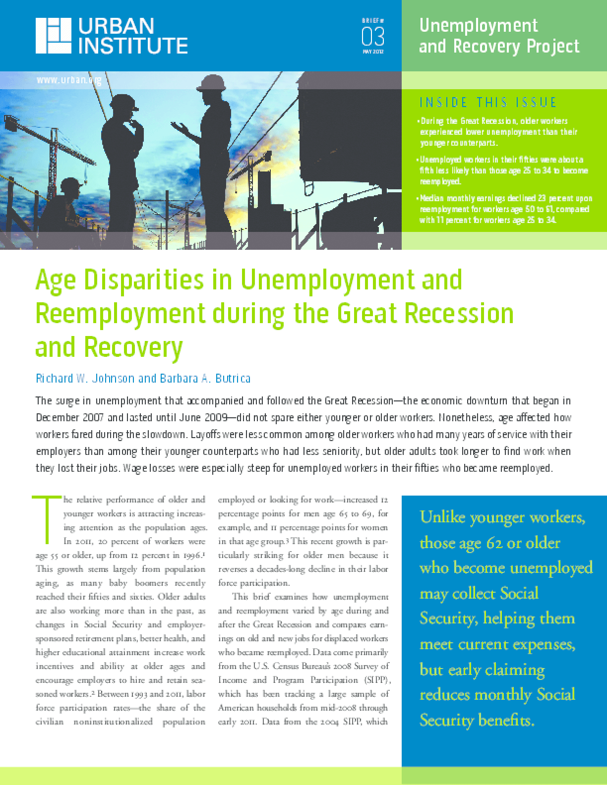 Age Disparities in Unemployment and Reemployment During the Great Recession and Recovery