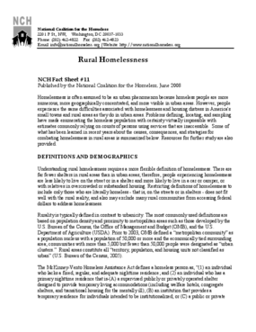 Rural Homelessness Factsheet