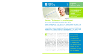 Boomers' Retirement Income Prospects