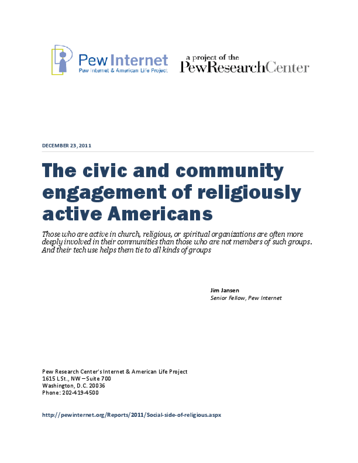 The Civic and Community Engagement of Religiously Active Americans
