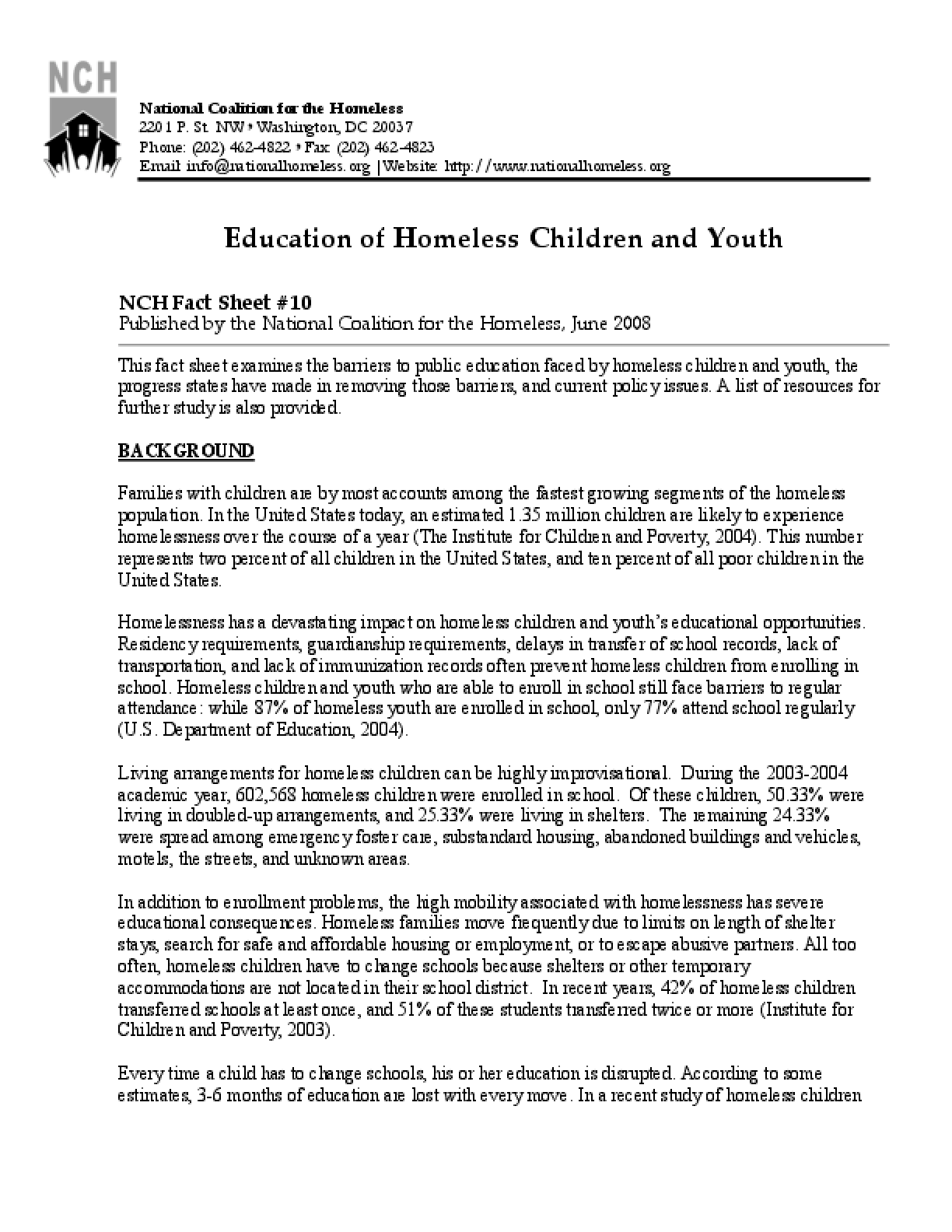 Education of Homeless Children and Youth Factsheet