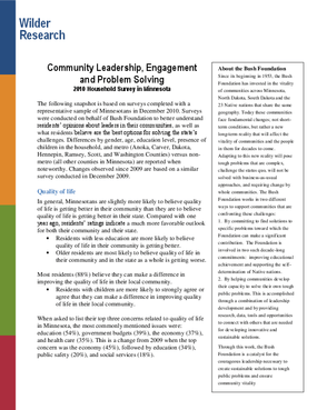 Community Leadership, Engagement and Problem Solving: 2010 Household Survey in Minnesota