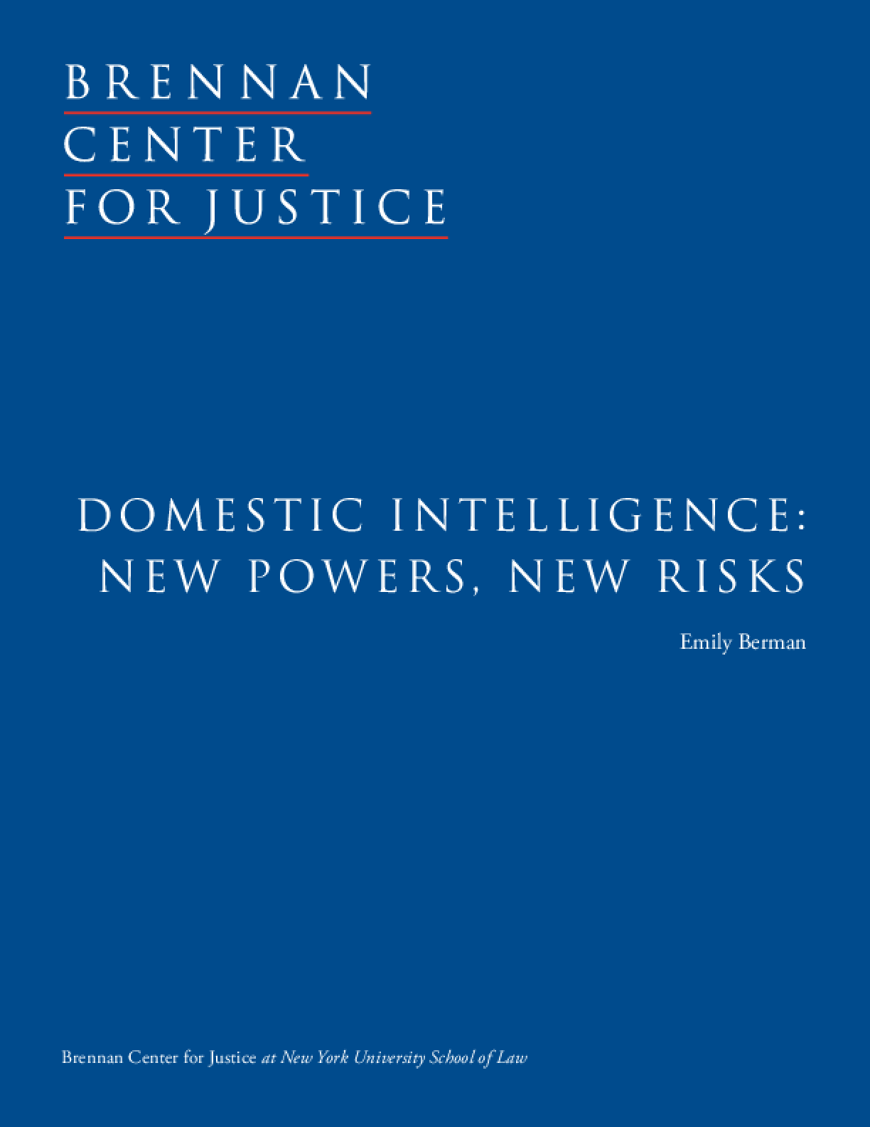 Domestic Intelligence: New Powers, New Risks