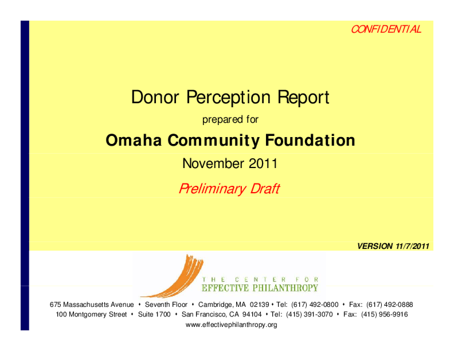 Donor Perception Report: Omaha Community Foundation