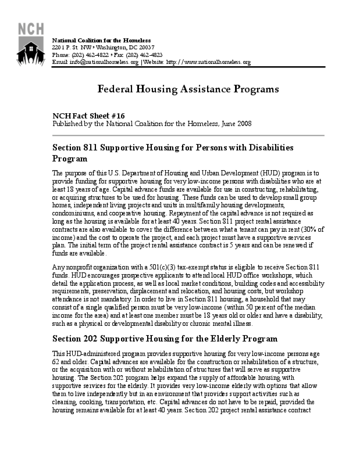 Federal Housing Assistance Programs Factsheet