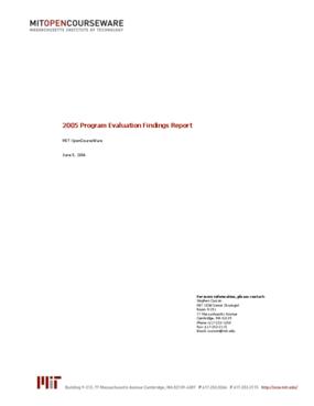 MIT OpenCourseWare 2005 Program Evaluation Findings