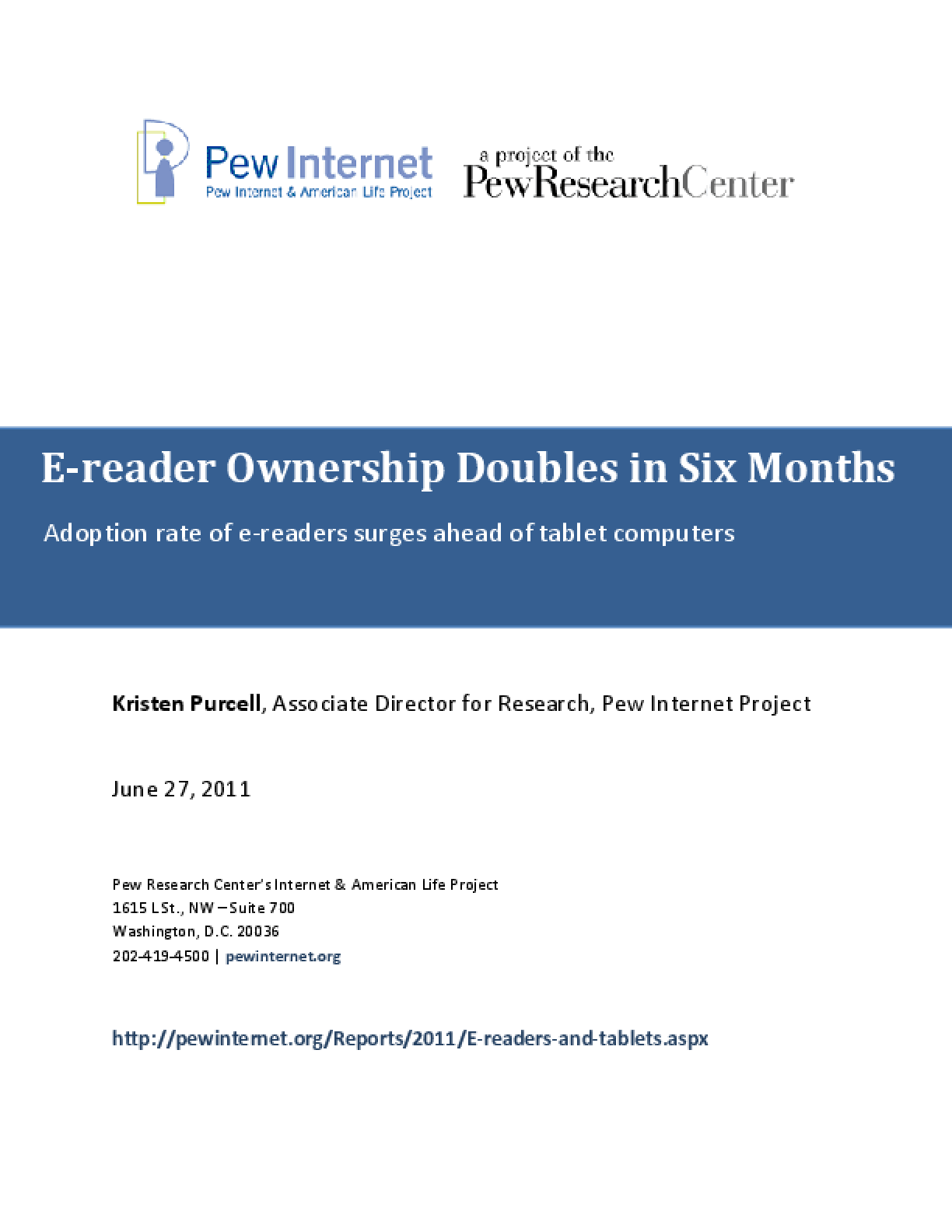 E-Reader Ownership Doubles in Six Months