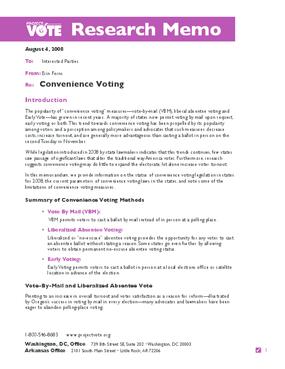 Convenience Voting Legislation