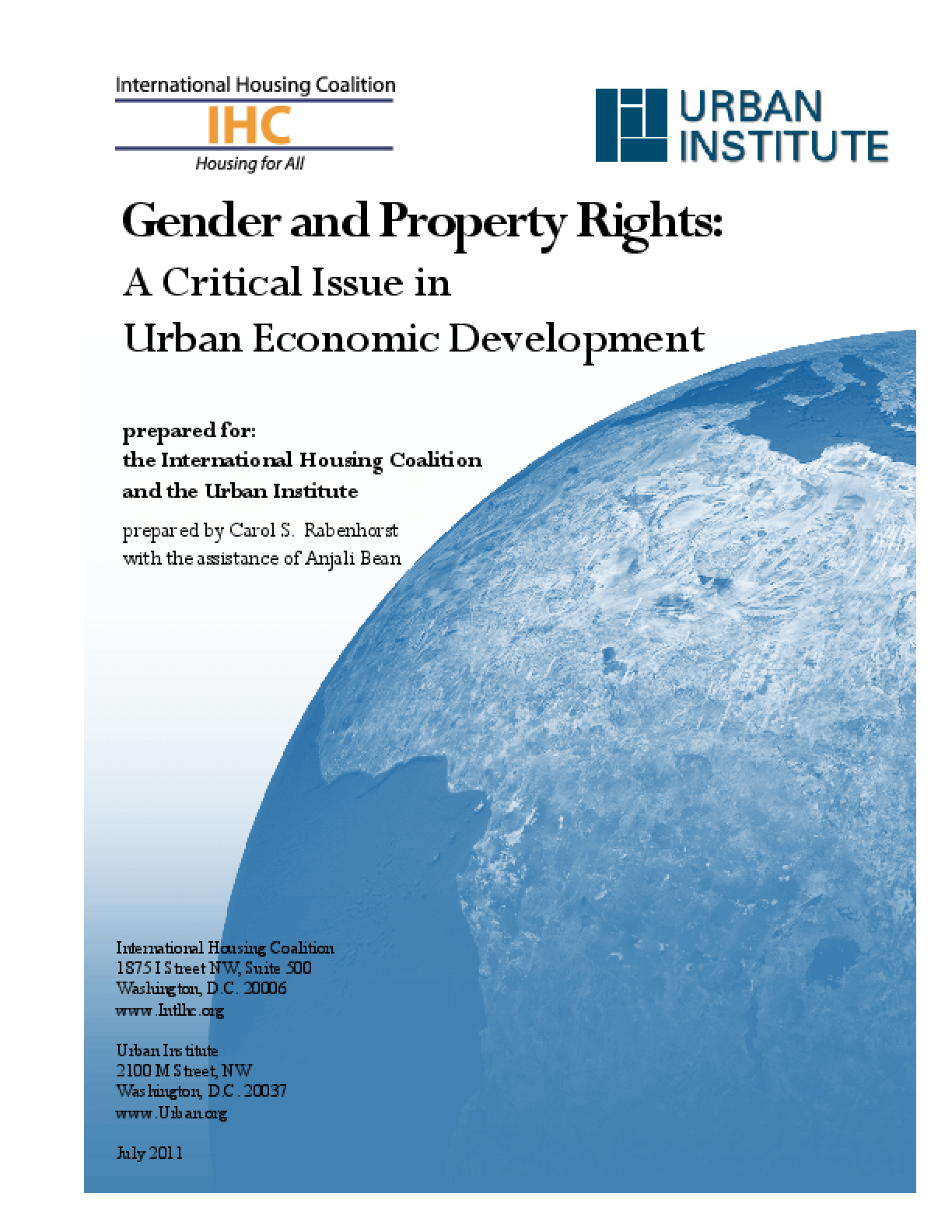 Gender and Property Rights: A Critical Issue in Urban Economic Development
