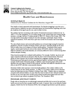 Health Care and Homelessness Factsheet