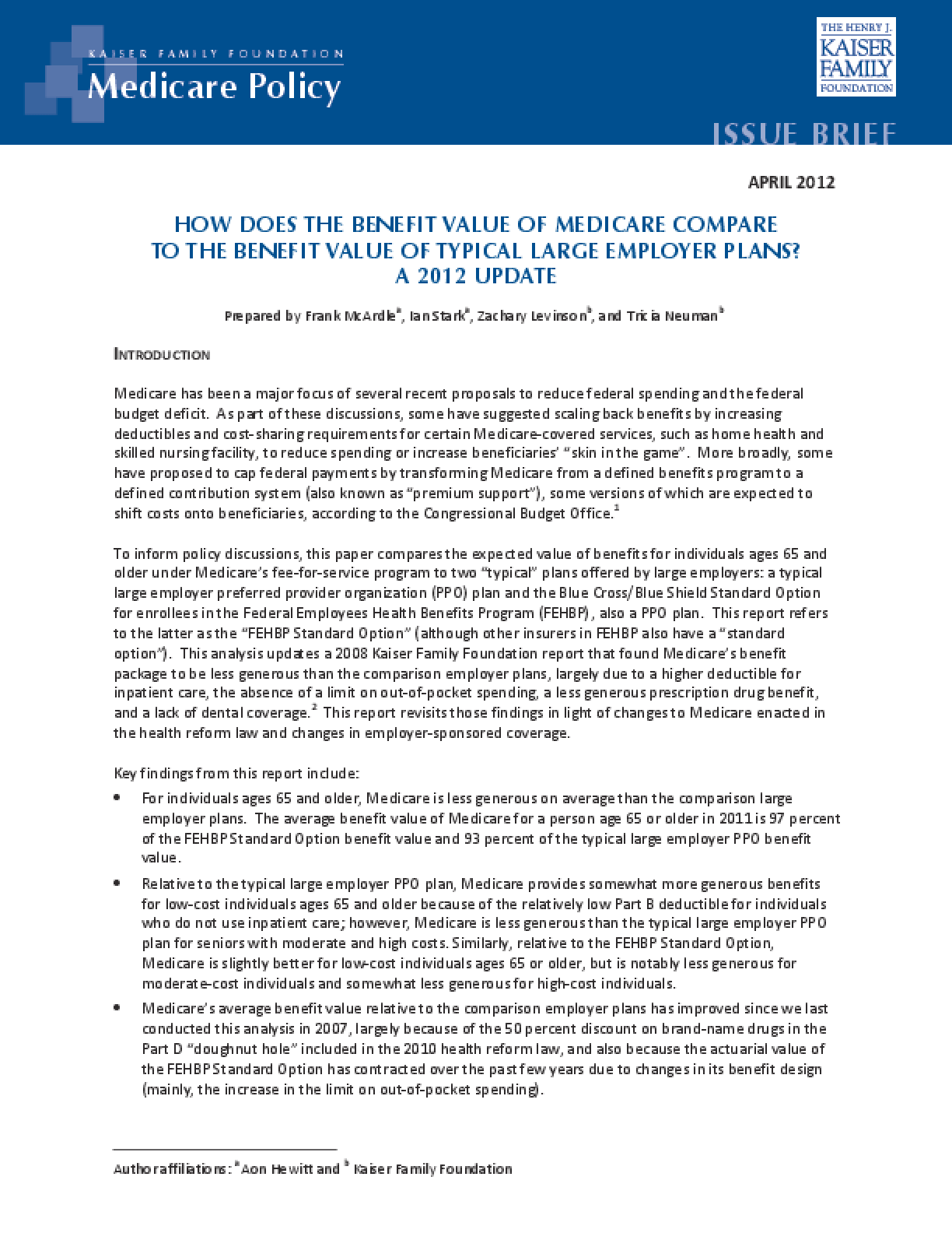 How Does the Benefit Value of Medicare Compare to the Benefit Value of Typical Large Employer Plans?: A 2012 Update