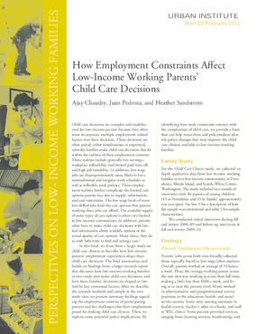 How Employment Constraints Affect Low-Income Working Parents' Child Care Decisions