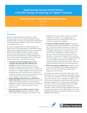 Implementing National Health Reform: A Five-Part Strategy for Reaching the Eligible Uninsured