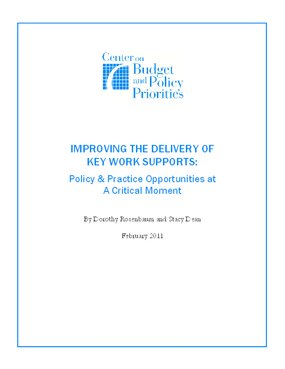 Improving the Delivery of Key Work Supports: Policy & Practice Opportunities at a Critical Moment
