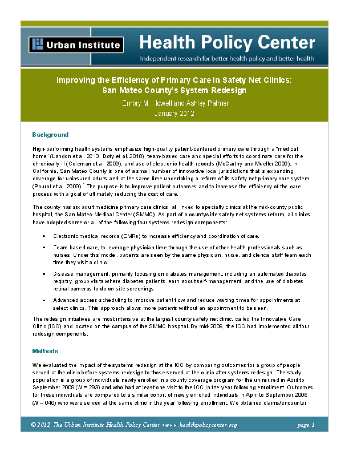 Improving the Efficiency of Primary Care in Safety Net Clinics: San Mateo County's System Redesign
