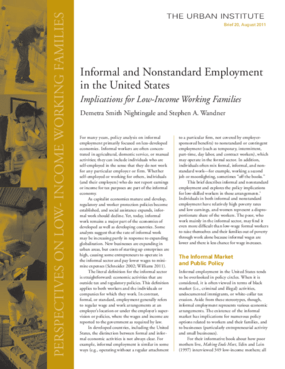 Informal and Nonstandard Employment in the United States: Implications for Low-Income Working Families