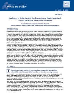 Key Issues in Understanding the Economic and Health Security of Current and Future Generations of Seniors