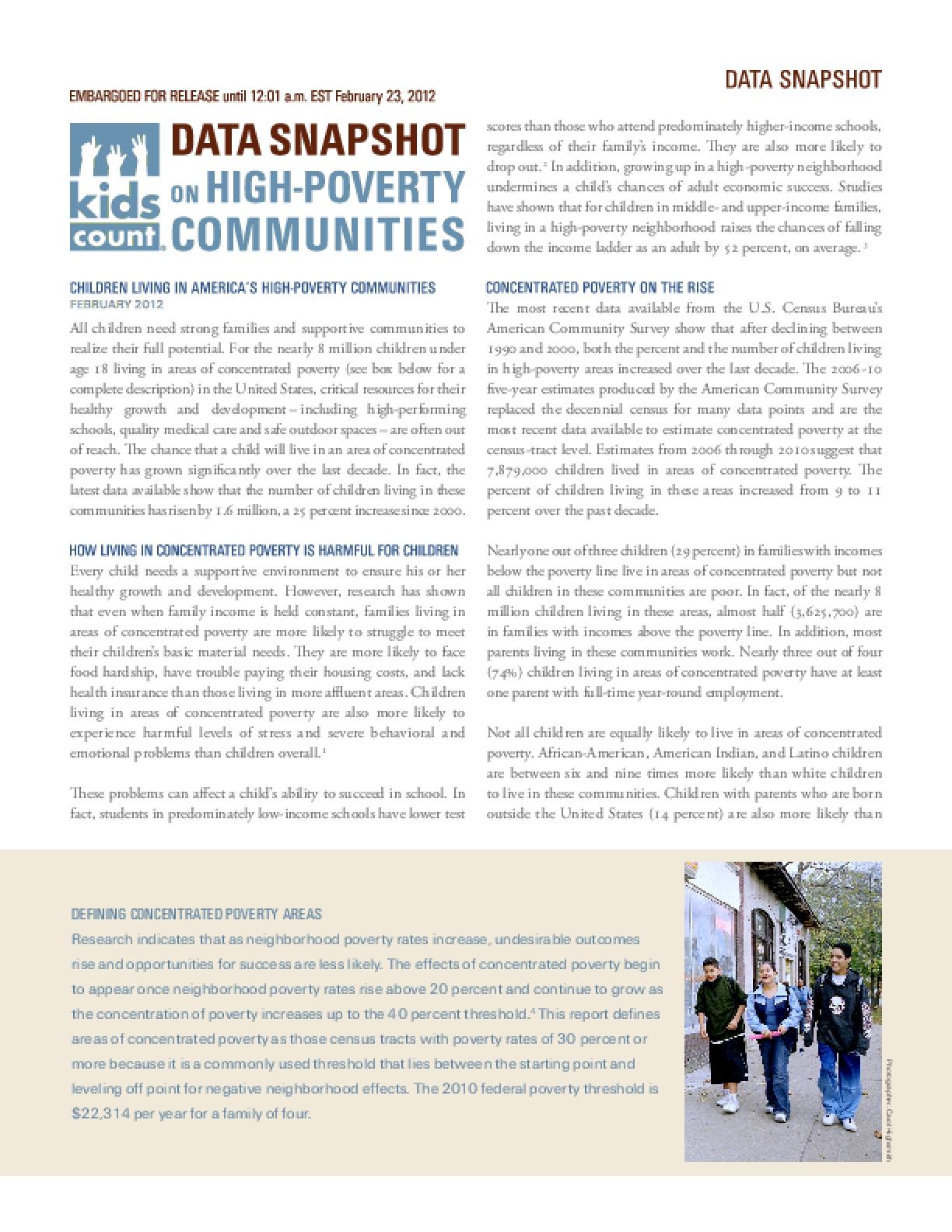 KIDS COUNT Data Snapshot on Children Living in High-Poverty Communities