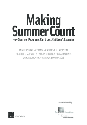 Making Summer Count: How Summer Programs Can Boost Children's Learning