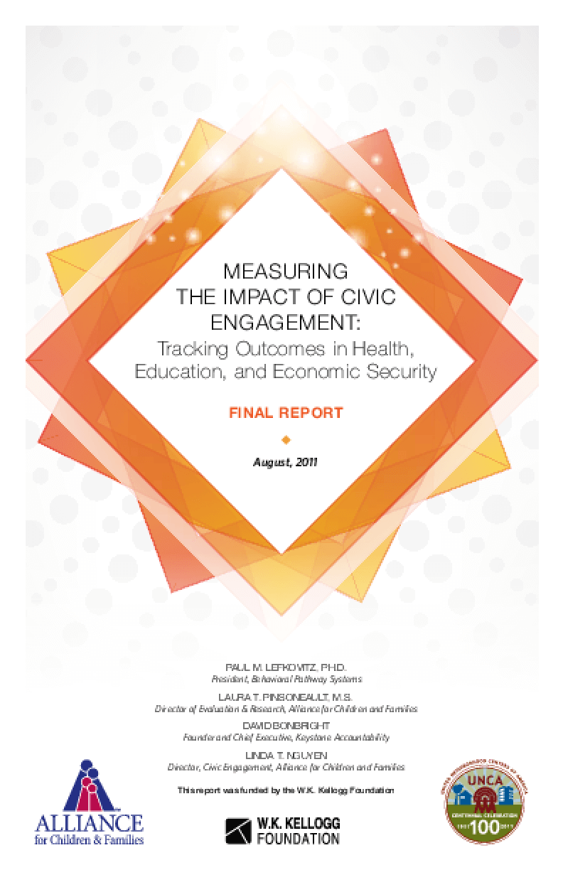 Measuring the Impact of Civic Engagement: Tracking Outcomes in Health, Education, and Economic Security