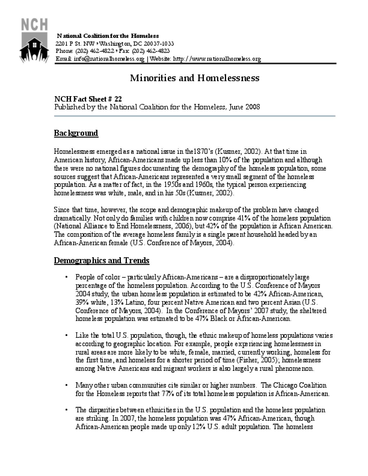 Minorities and Homelessness Factsheet
