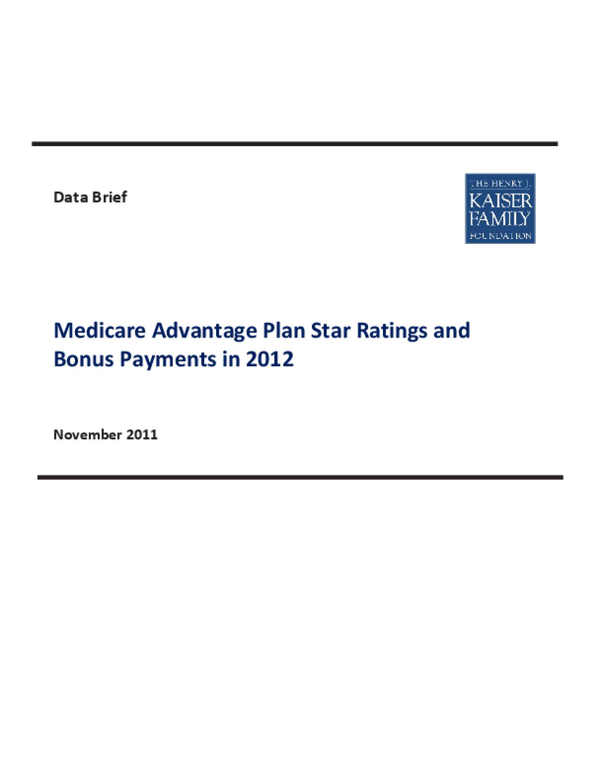 Medicare Advantage Plan Star Ratings and Bonus Payments in 2012