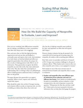 Reframing the Conversation: Expanding the Impact of Grantees: How Do We Build the Capacity of Nonprofits to Evaluate, Learn and Improve?