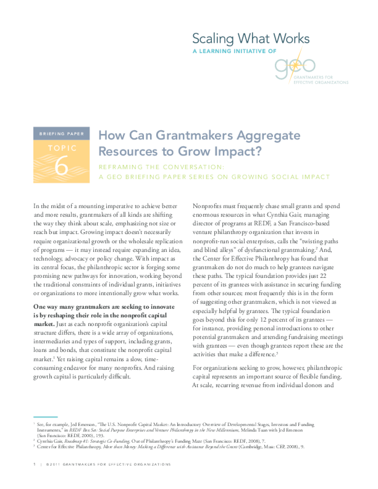 Reframing the Conversation: How Can Grantmakers Aggregate Resources