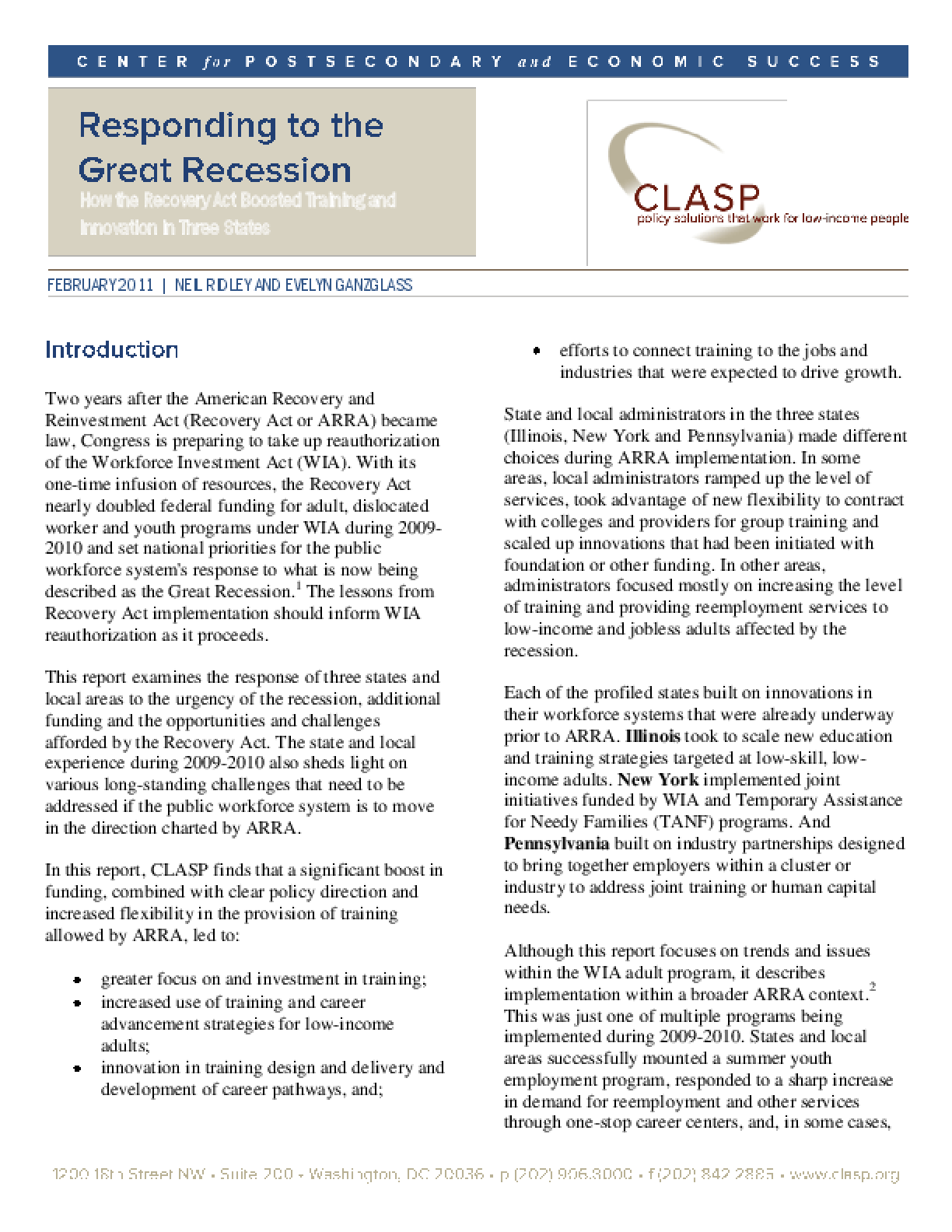 Responding to the Great Recession: How the Recovery Act Boosted Training and Innovation in Three States