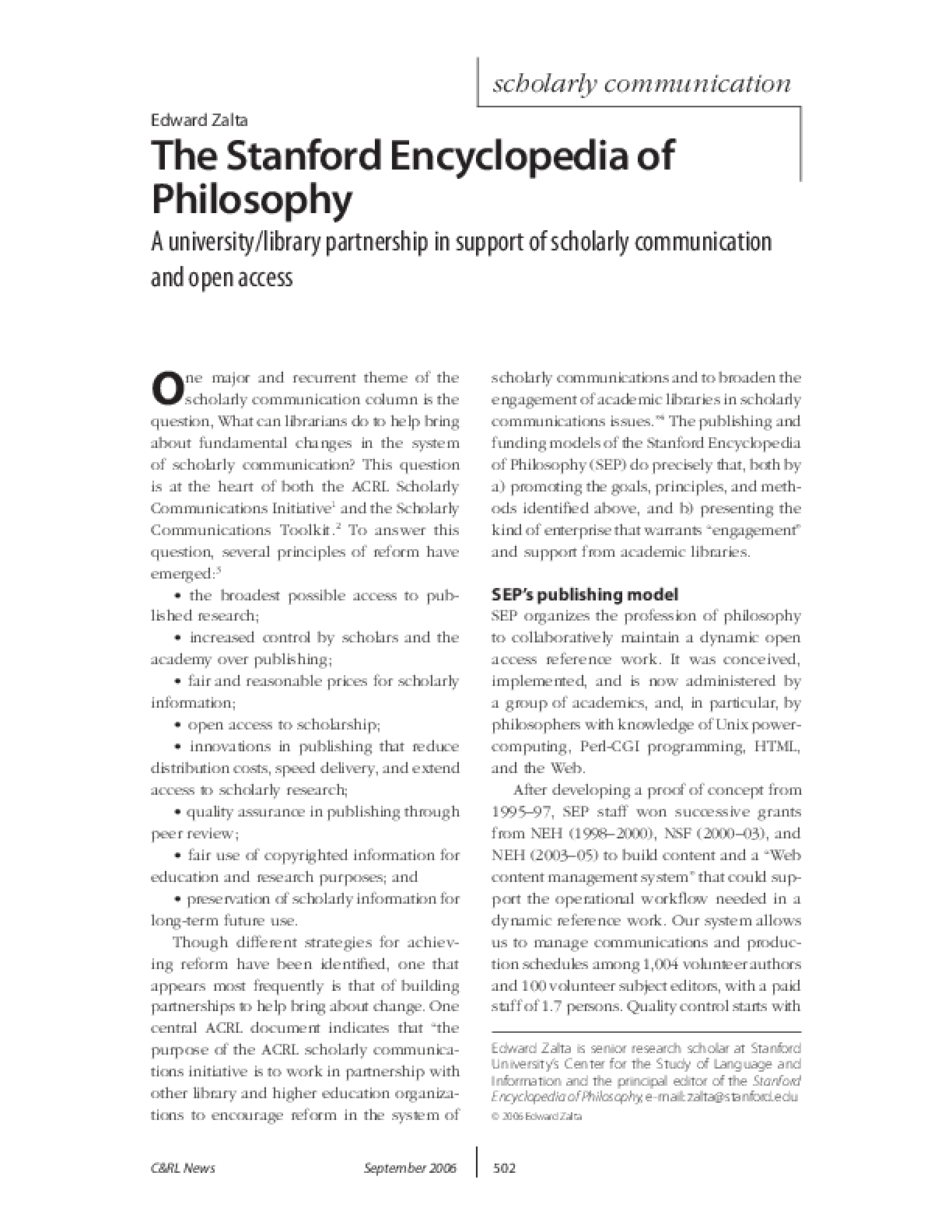 The Stanford Encyclopedia of Philosophy: A University/Library Partnership in Support of Scholarly Communications and Open Access