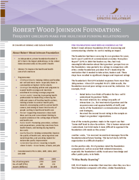Robert Wood Johnson Foundation: Frequent Check-Ups Make for Healthier Funding Relationships