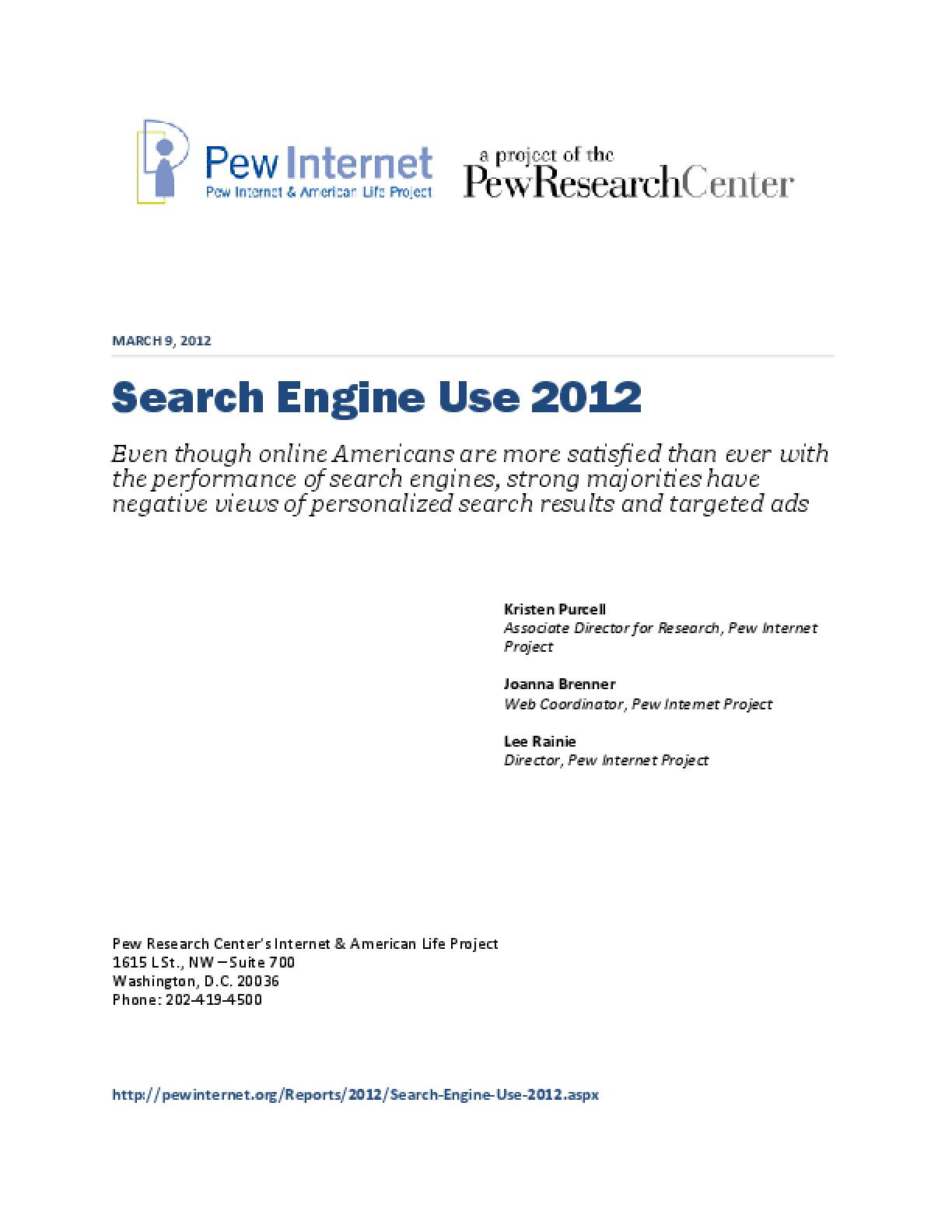 Search Engine Use 2012