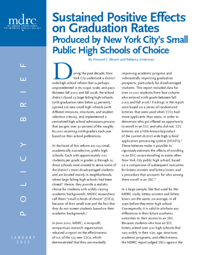 Sustained Positive Effects on Graduation Rates Produced by New York City's Small Public High Schools of Choice