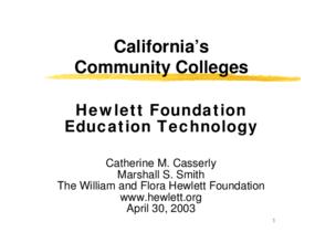 California's Community Colleges: Hewlett Foundation Education Technology