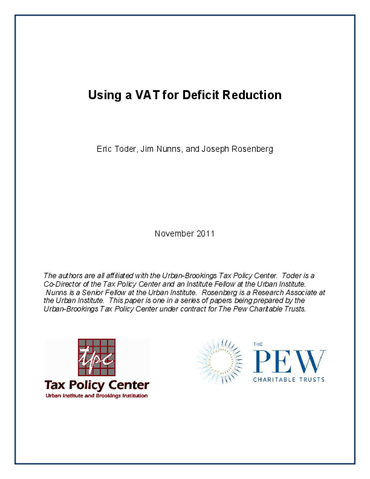 Using a VAT for Deficit Reduction