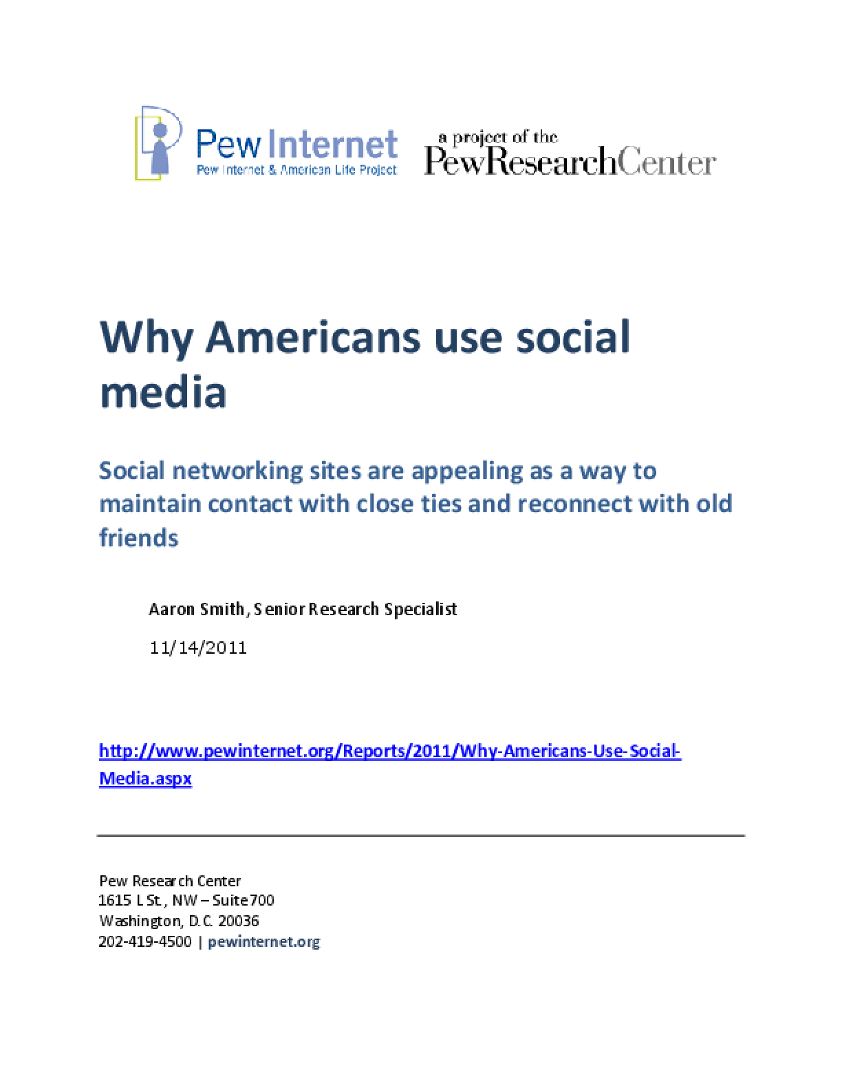 Why Americans Use Social Media