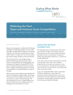 Widening the Pool: Open and Inclusive Grant Competitions: Lessons Learned From the Social Innovation Fund