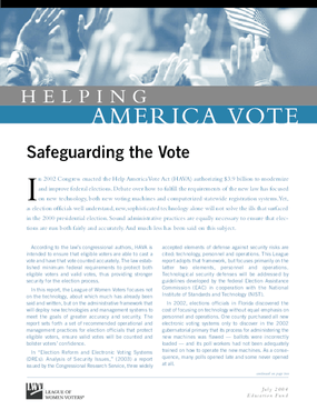Helping America Vote: Safeguarding the Vote