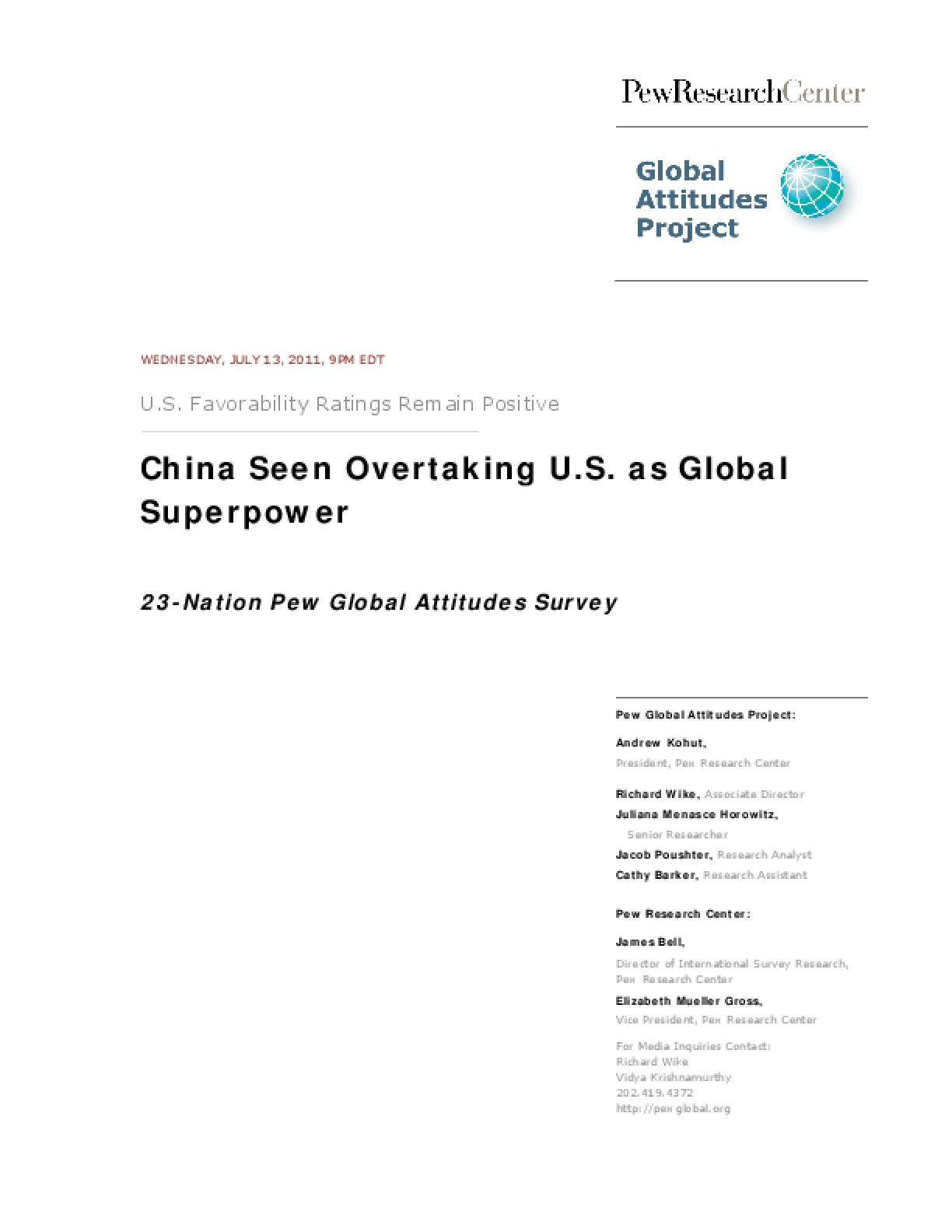 23-Nation Pew Global Attitudes Survey: China Seen Overtaking U.S. as Global Superpower