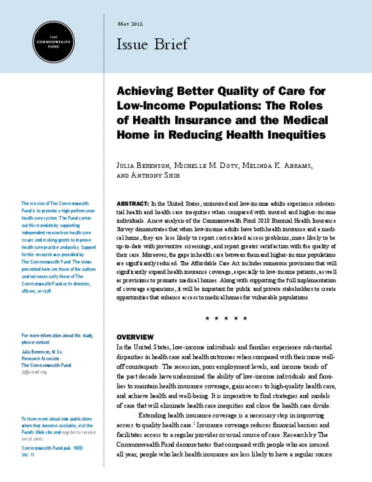 Achieving Better Quality of Care for Low-Income Populations: The Roles of Health Insurance and the Medical Home in Reducing Health Inequities
