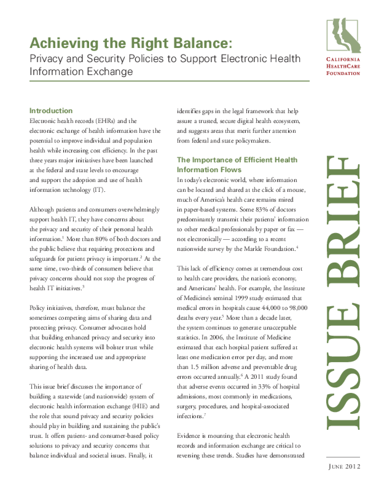 Achieving the Right Balance: Privacy and Security Policies to Support Electronic Health Information Exchange