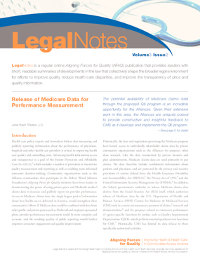 Aligning Forces for Quality: Release of Medicare Data for Performance Measurement